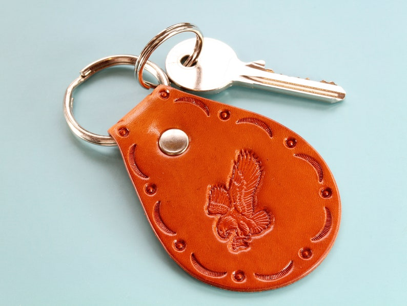 Eagle Keychain Leather Keychain Handmade Leather Anniversary image 0