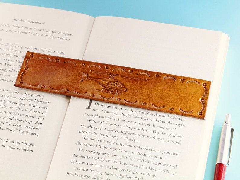 Helicopter Bookmark Hand Carved Leather Bookmark Handmade image 0