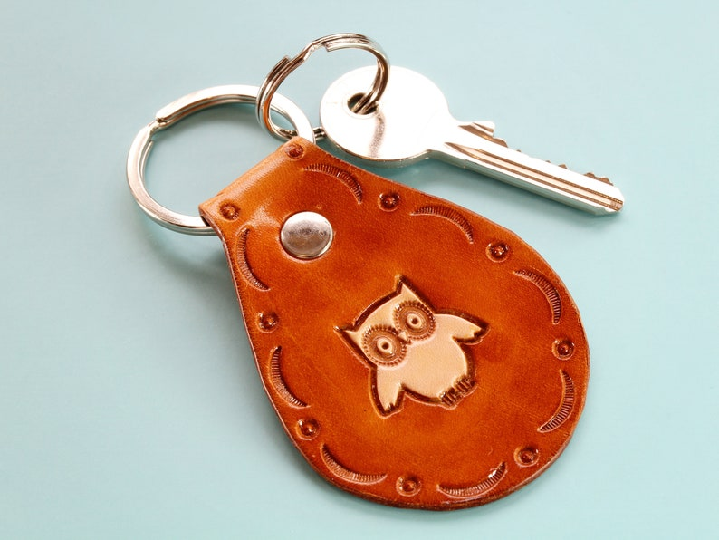 Owl Keyring Leather Keyring Handmade Owl Key Fob Leather image 0