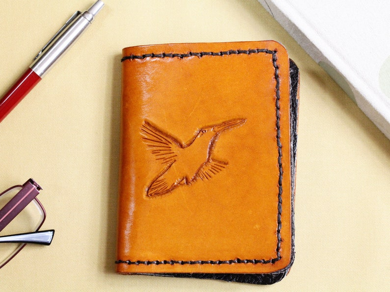 Bird Wallet Hand Carved Leather Wallet Birthday Gift For Dad image 0