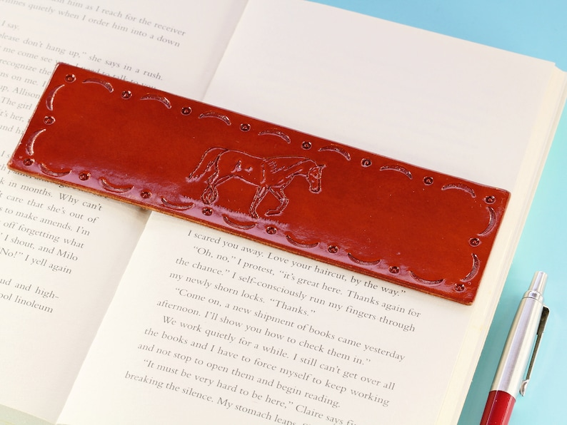 Horse Hand Carved Leather Bookmark Handmade Horse Bookmark image 0