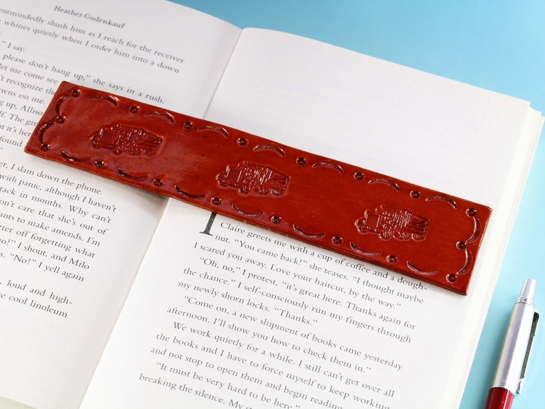 Truck Bookmark Hand Tooled Leather Bookmark Handmade image 0