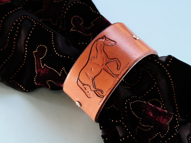 Hand Carved Leather Horse Bracelet Shawl Cuff Horse Lovers image 0