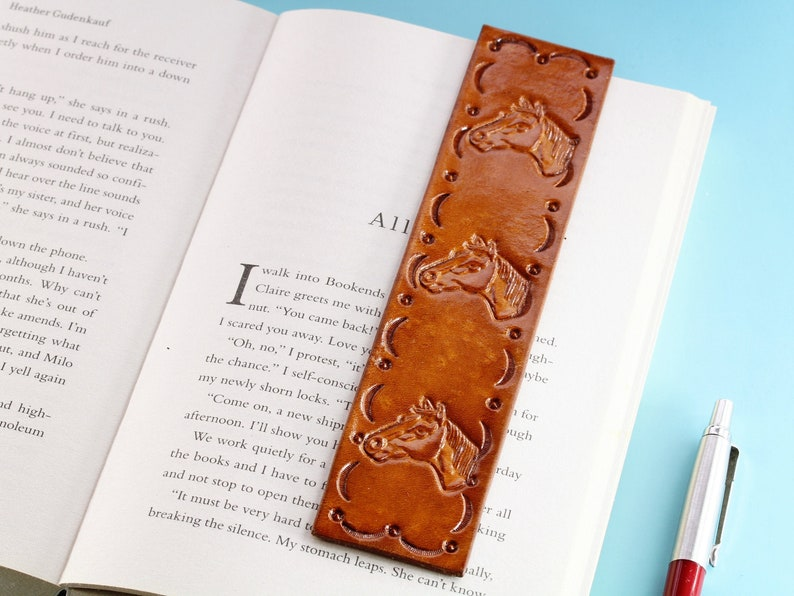 Horse Bookmark Handmade Leather Bookmark Horse Gifts For image 0