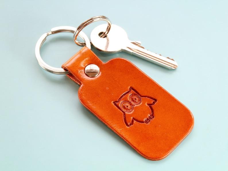 Owl Keychain Handmade Leather Keyring Cute Owl Keyring image 0