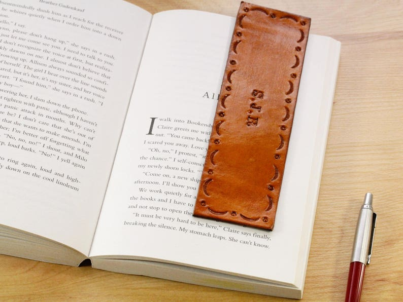 Personalized Leather Bookmark Name Bookmark 9th or 3rd image 0