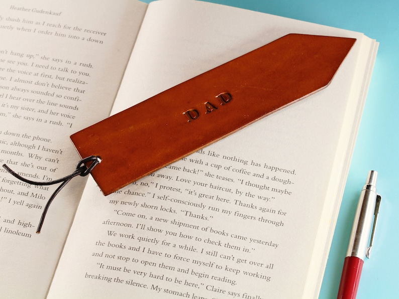 Dad Leather Bookmark Handmade Dad Bookmark With Leather Cord image 0
