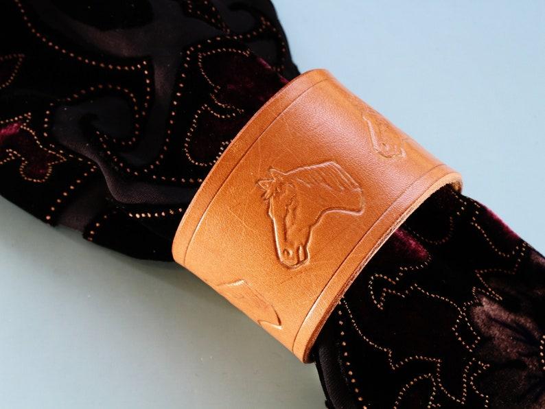 Horses Head Bracelet Handmade Leather Bracelet Scarf Cuff image 0