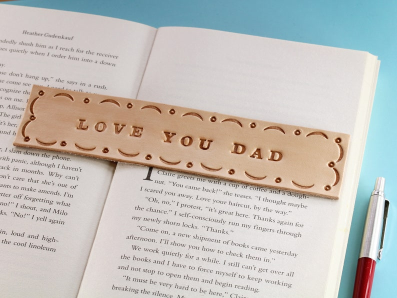 Love You Dad Tooled Leather Bookmark Birthday Gift For Dad image 0