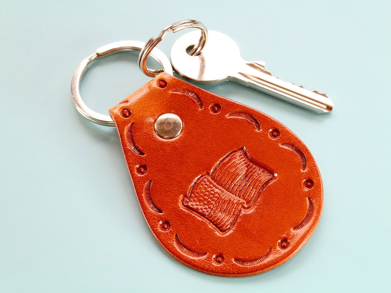 United States Flag Leather Keychain Handmade Leather Keyring image 0