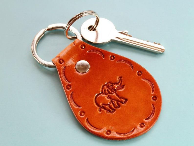Elephant Keychain Leather Keyring Handmade Girlfriend Gift image 0