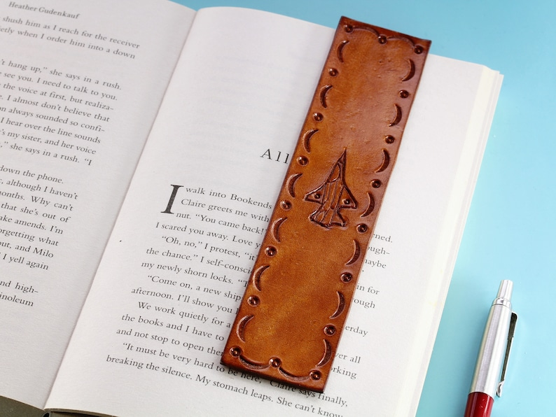 Fighter Jet Hand Carved Leather Bookmark Birthday Gift For image 0