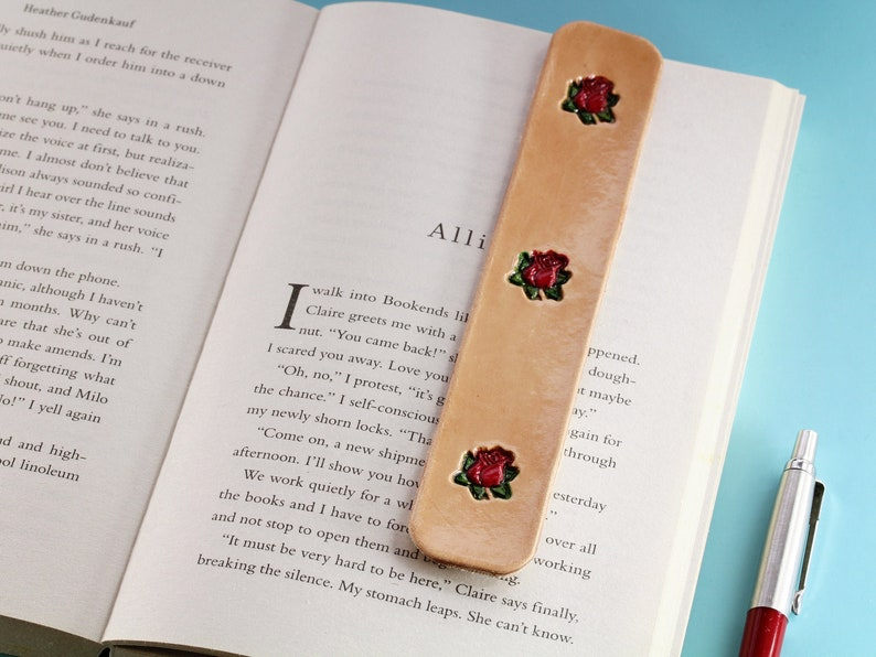 Red Roses Bookmark Handmade Leather Bookmark Leather image 0