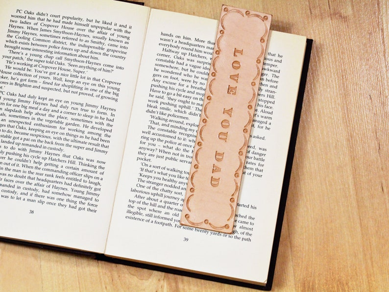 92e7940d Love You Dad Tooled Leather Bookmark Fathers Day Gift For | Etsy