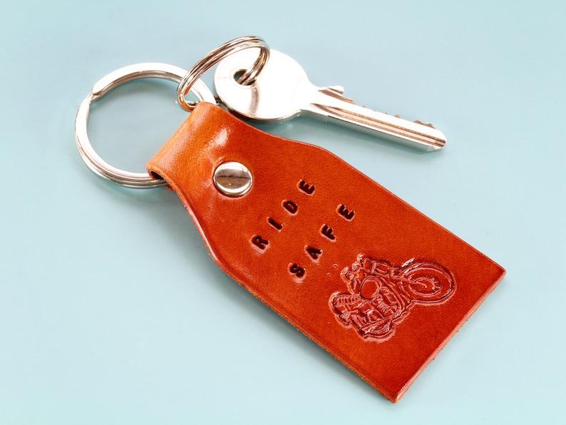 Ride Safe Keychain Motorcycle Keychain Leather Keychain image 0