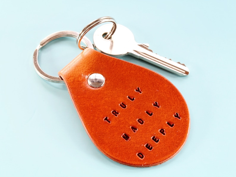 Truly Madly Deeply Leather Keychain Handmade Birthday Gift image 0