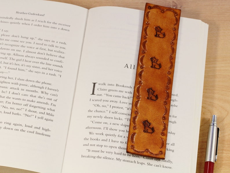 Cat Bookmark Leather Bookmark Best Friend Gift Handmade Book image 0