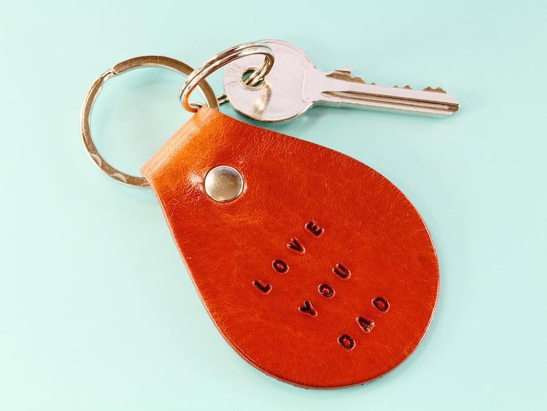Love You Dad Keychain Handmade Leather Keychain Fathers Day image 0