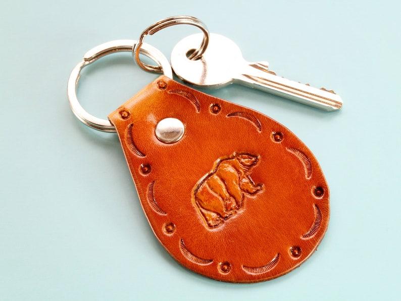 Bear Key Fob Hand Tooled Leather Keychain Handmade Birthday image 0