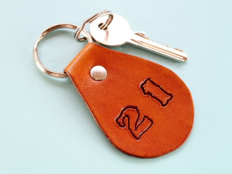 21st Birthday Keychain Handmade Leather Keychain Twenty One image 0