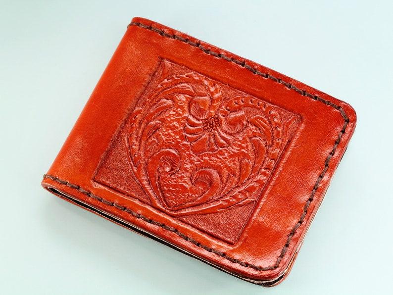 Art Deco Leather Wallet Hand Carved Leather Wallet Men's image 0