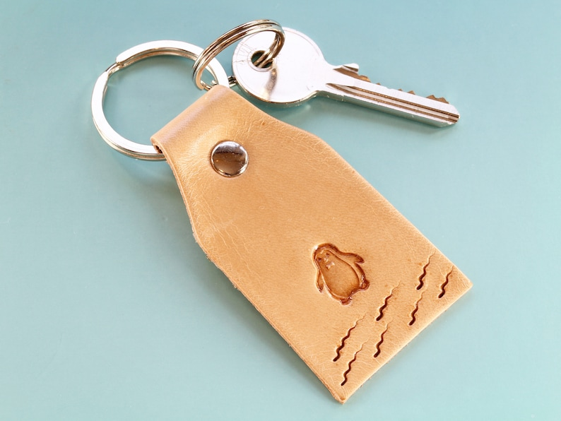 Penguin Keychain Handmade Leather Keychain Romantic Gift image 0
