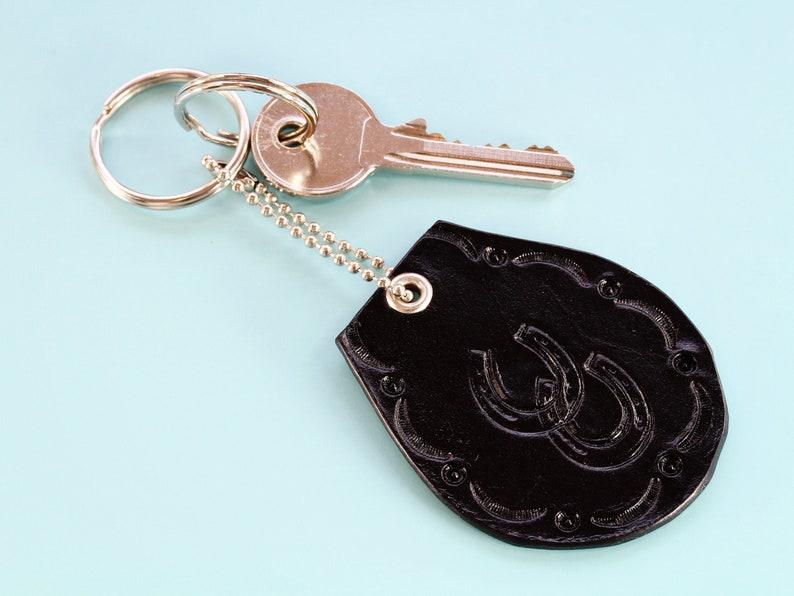 Horseshoe Leather Keyring Handmade Leather Keychain Birthday image 0