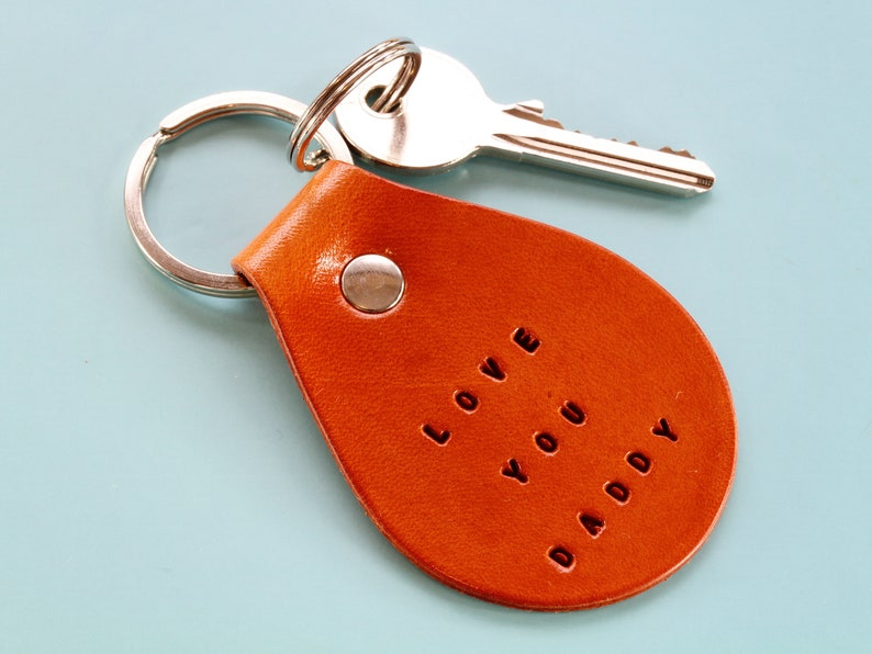 Love You Daddy Keyring Handmade Leather Keychain Handcrafted image 0