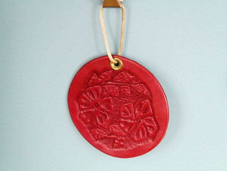 Floral Hand Carved Leather Wall Hanging Handmade Christmas image 0