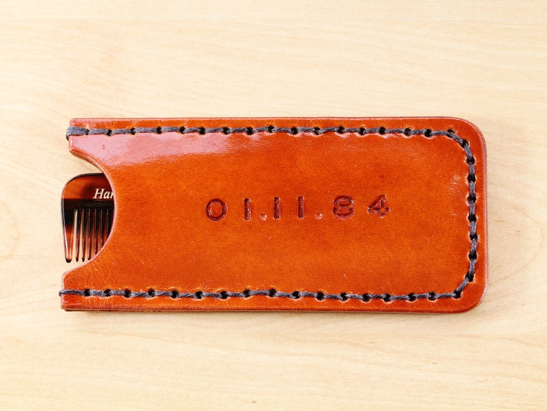 Special Date Comb Case Leather Comb Case Handmade Couples image 0