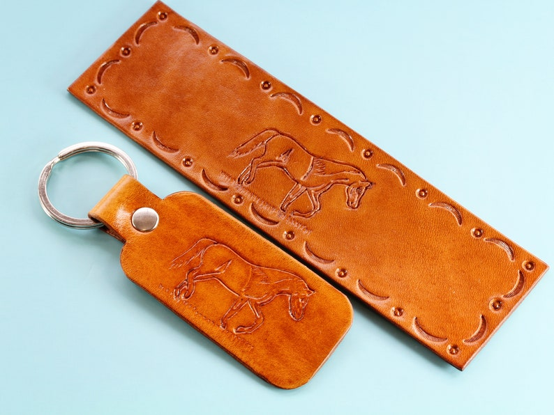 Horse Bookmark Gift Set Hand Carved Leather Keychain image 0