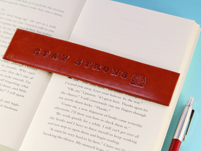 Stay Strong Bookmark Handmade Leather Bookmark Stay Strong image 0