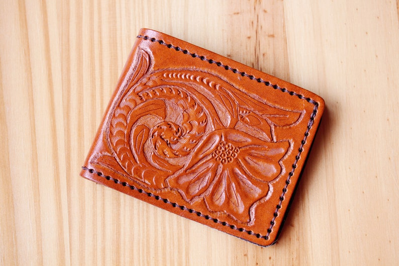Hand Carved Leather Wallet Credit Card Wallet Birthday Gift image 0