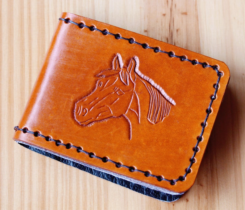 Horse Hand Carved Leather Billfold Wallet Birthday Gift image 0