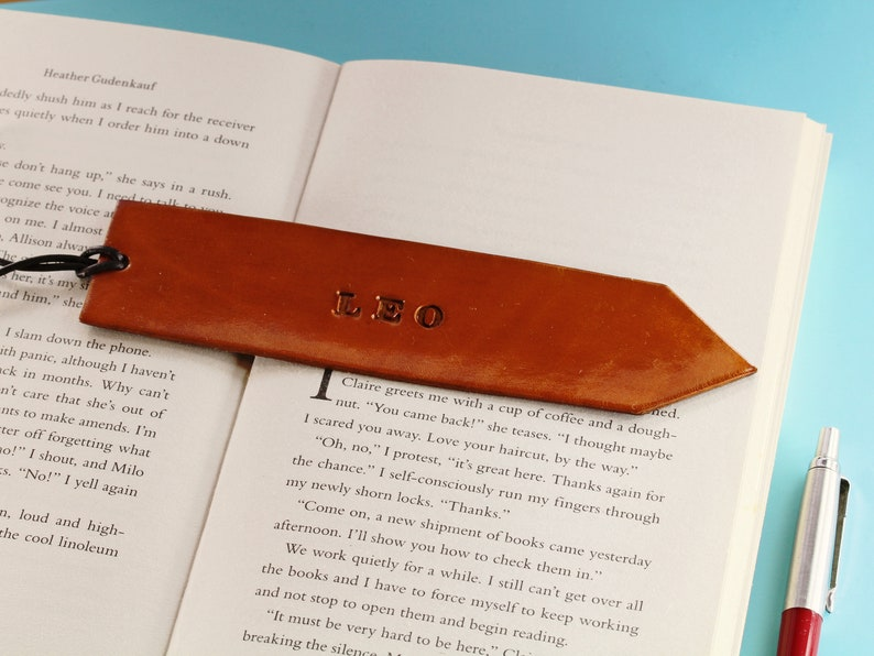 Personalized Name Leather Bookmark Birthday Gift For Dad Name image 0