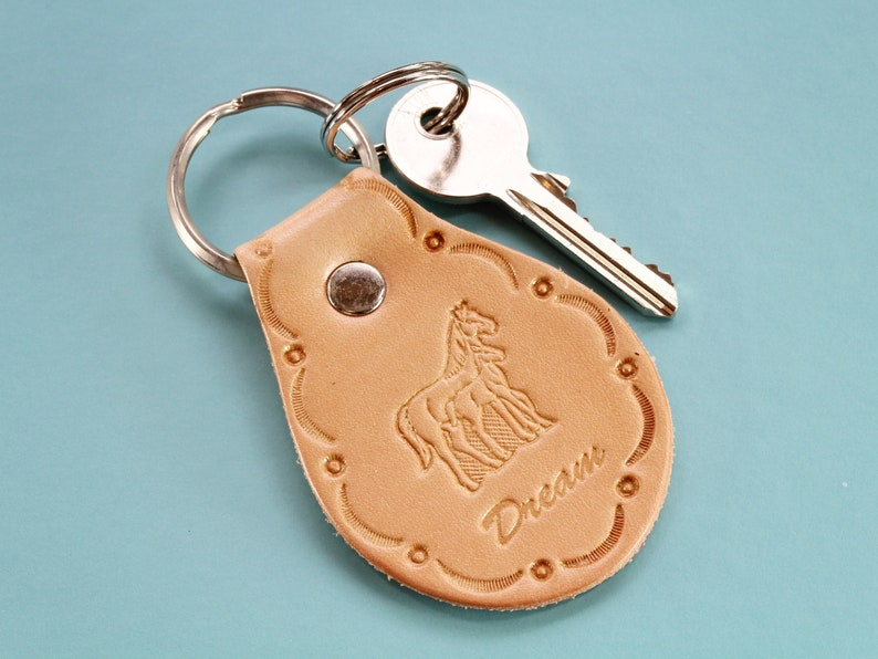 Horse Keyring Handmade Leather Keyring Mare And Foal image 0