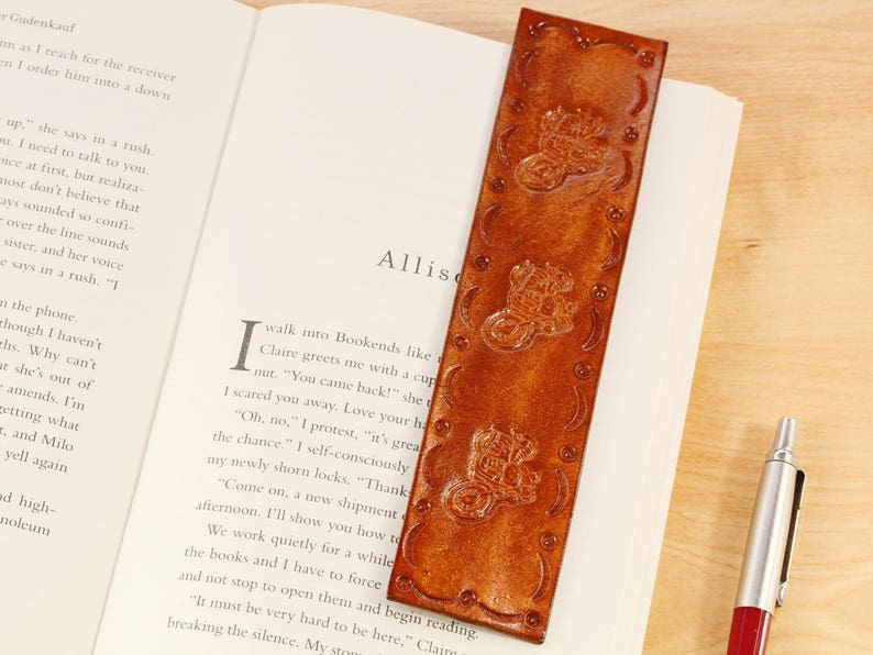 Motorcycle Bookmark Hand Tooled Leather Bookmark Handmade image 0