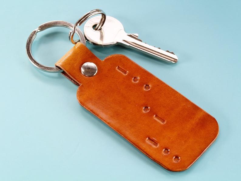 Morse Code Dad Keychain Leather Keychain Handmade Christmas image 0
