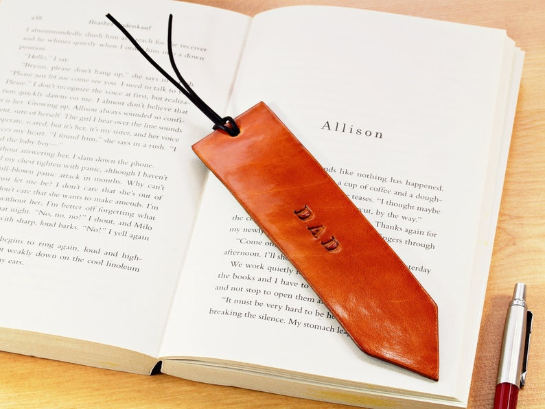 Dad Leather Bookmark Handmade With Cord