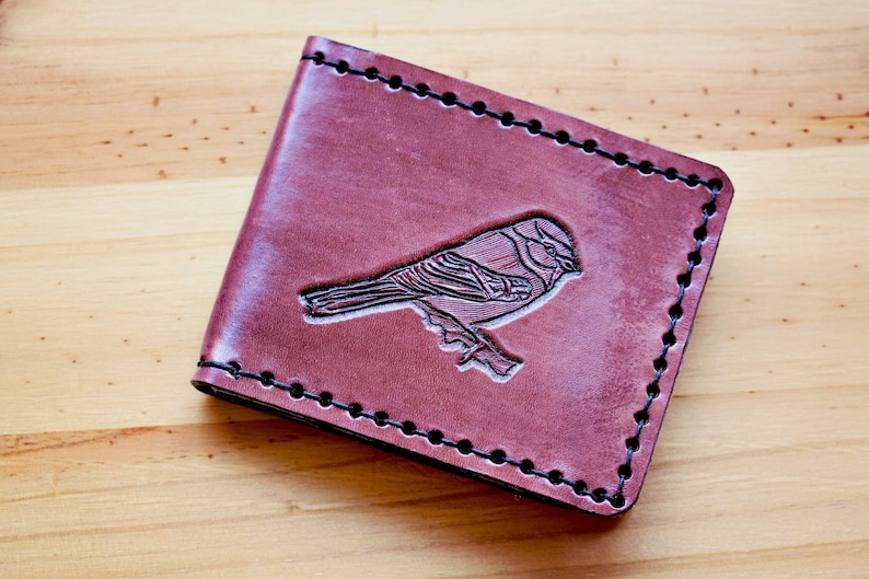 Bird Hand Carved Leather Wallet Handmade Birthday Gift image 0