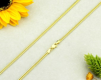 PZCH350SV-GP Men Women 1.4mm Sterling Silver Necklace 14K Gold Plated Diamond Cut Tube Brite Chain Necklace