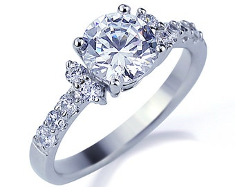 4mm Platinum Plated Silver 2ct Cz Solitaire Bypass Wedding Engagement Ring Size9 Fashion Jewelry