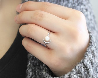 rings gold pearl ring,AprilsRealm wire wrapped jewelry Pearl ring fresh water pearl statement ring