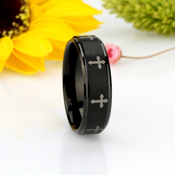 Thorsten Howling Wolf at Moon on Mountain Range Scene Print Pattern Ring Polished Tungsten Ring 10mm Wide Wedding Band from Roy Rose Jewelry