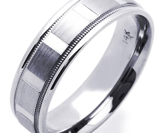 Custom letters engraving available / Men Women 14K White Gold 6mm Dia Cut Patterned Wedding Band Ring / Gift Box(DLN579-302W)