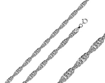 Men Women 2.4mm Sterling Silver Italian Chain Necklace Polished Singapore Chain(PZSIN-24MM)
