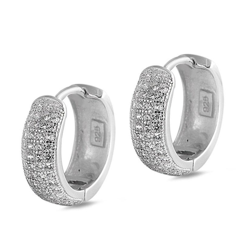 21b035a61c10f Women Sterling Silver Round CZ Channel Two Row Huggie Hoop  Earrings(SNEC460352)