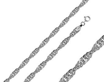 Men Women 2.8mm Sterling Silver Italian Chain Necklace Polished Singapore Chain(PZSIN-28MM)