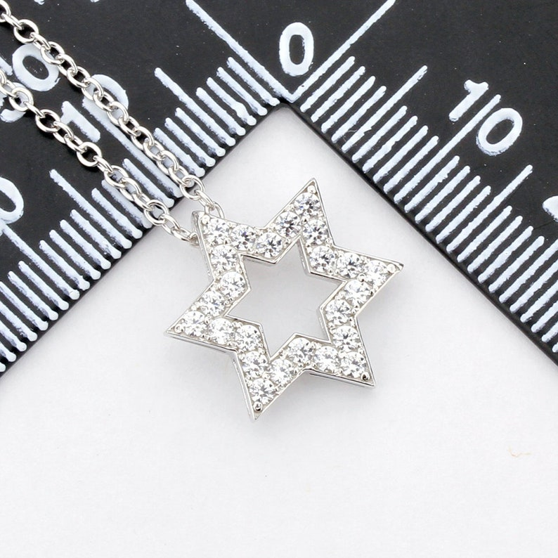 LUXP1791501 16+2 Rhodium Plated 925 Sterling Silver Neclace CZ Stone Star Pendant Necklace Statement Necklace