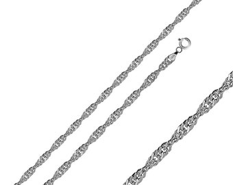 Men Women 1.5mm Sterling Silver Italian Chain Necklace Polished Singapore Chain(PZSIN-15MM)